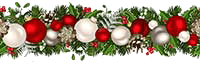 Christmas garland and baubles