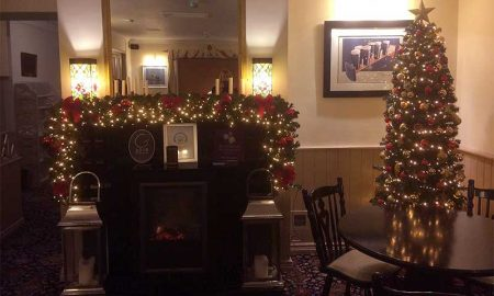 Slim Xmas Tree and Garland supplied by Focus Tralee in the Oyster Tavern, Spa